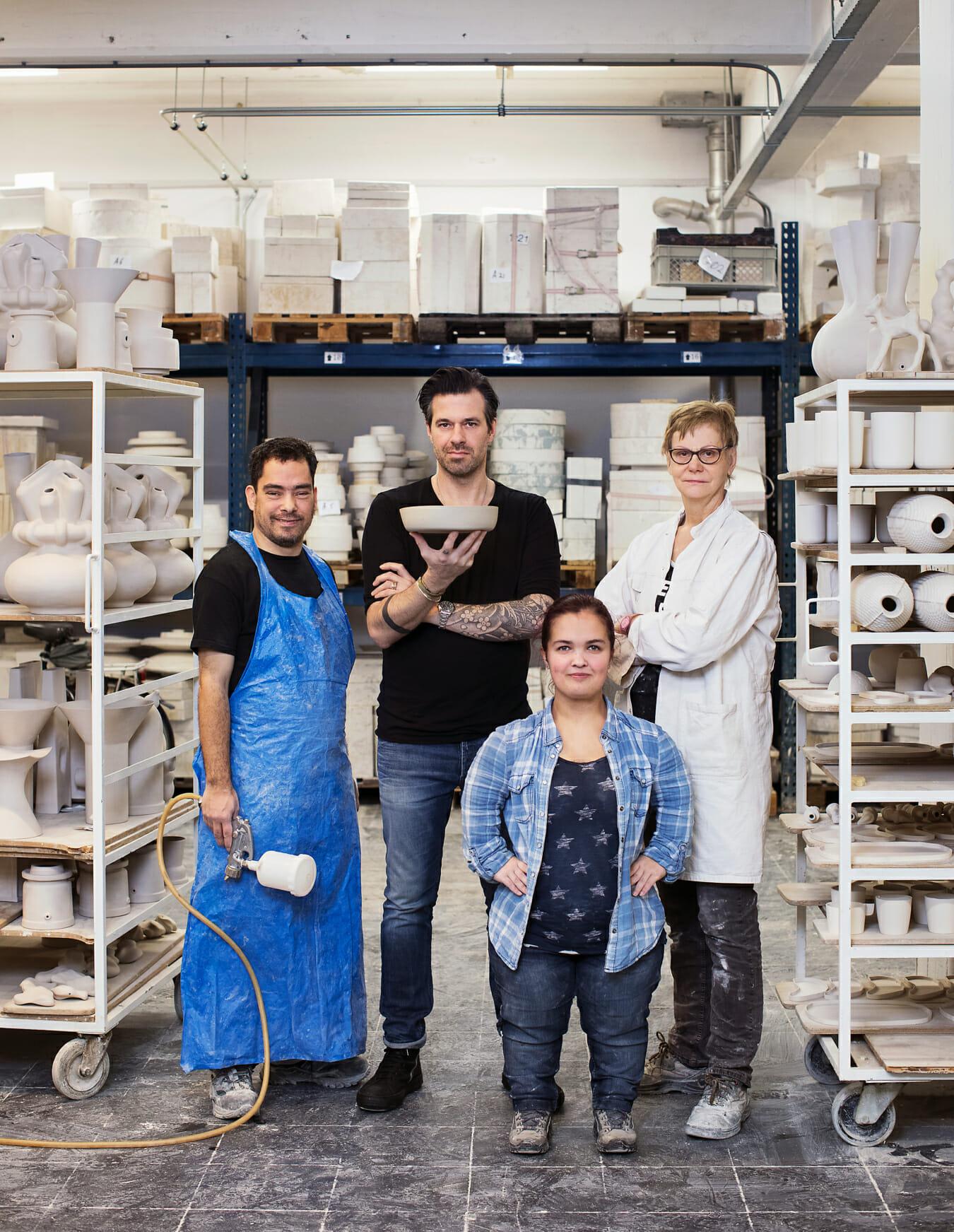 Portret Sergio Herman en medewerkers voor keramiek organisatie Cor Unum